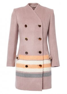 The Matthew Williamson Amethyst Saturn Wool Double Breasted Coat. This jewel-toned coat is made from wool and woven with a hint of merino for a luxuriously soft finish. Tapping into winter's mystical inspiration, the stripes reference the spherical rings of planet Saturn.