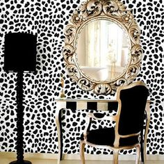 Leopard Skin Allover Stencil - Large Scale - Reusable wall stencils for easy DIY home decor! sold by Cutting Edge Stencils. Shop more products from Cutting Edge Stencils on Storenvy, the home of independent small businesses all over the world. Casa Magnolia, Leopard Wall, Leopard Decor, Leopard Bedroom, White Leopard, White Bedroom, Cheetah, Expensive Wallpaper, Home Interior