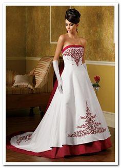 white wedding dress with red trim Wedding 05 Pinterest White