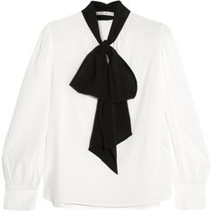 Clothing ❤ liked on Polyvore featuring tops, 2016 top long arm, white top, alice olivia blouse, long white top, bow neck blouse and bow collar blouse
