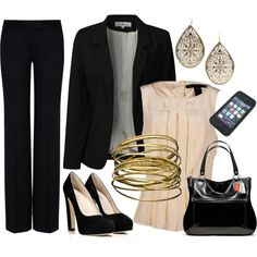 Work Outfit ~ Black, Cream and Gold