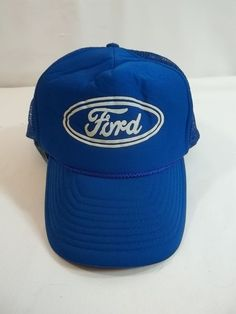0effa56f507 Vintage Ford Cap Hat Mesh Snapback Trucker Blue  Nissin  BaseballCap Hats  For Men