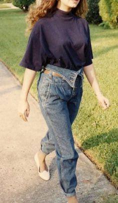 80s - mock turtlenecks and foldover acid wash jeans rolled up of course