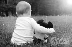 baby, boy, Mickey Mouse, back, field, grass, sun,