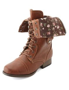 Floral Print Lace-Up Combat Boot: Charlotte Russe - http://AmericasMall.com/categories/juniors-teens.html