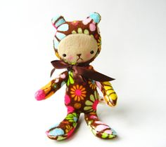 Teddy Bear Plushie Kawaii Style Retro Flower Power by bijoukitty.