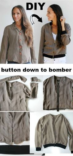 DIY button down to bomber jacket refashion - Trash to Couture - Trash To Couture, Diy Clothes Refashion, Shirt Refashion, Upcycle Shirts, Refashioned Clothes, Sewing Clothes Women, Men Clothes, Diy Kleidung, Diy Buttons