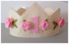 Felt Princess 1st First Birthday Crown in by pixieandpenelope, $17.00