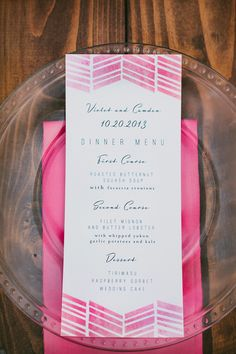 pink chevron menu // photo by Leo Evidente // paper goods by Lucky Penny Paperie