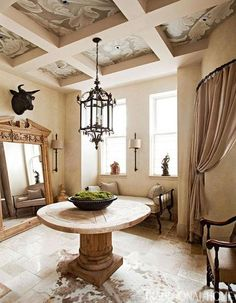 At Home with Fashion Designer Joseph Abboud | Traditional Home....Foyer with Hand Painted Cofered Ceiling