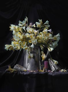 Still Life with Dying Freesia in Silver Water Jug with two Conus marmoreus Shells, Ripiro Silver Water, Still Life, Contemporary Art, Art Photography, Street Art, Nature, Shells, Aesthetics, Artists