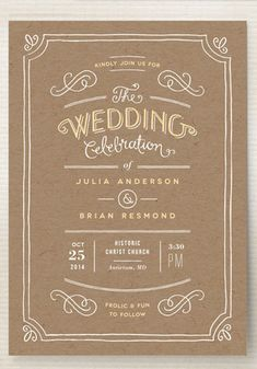 A vintage inspired wedding invitation with hand drawn lettering and flourishes. A charming choice for a rustic wedding.