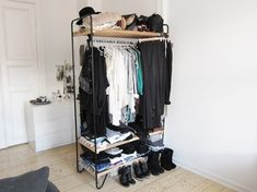 5 Real-Life Wardrobe Storage Solutions From Apartments with No Closets: gallery image 2 Open Wardrobe, Diy Wardrobe, Wardrobe Storage, Wardrobe Design, Wardrobe Rack, Minimal Wardrobe, Closet Storage, Diy Storage, Wardrobe Furniture