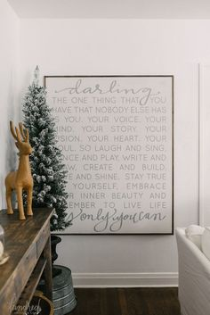 """Darling sign hand lettered and handmade by House of Belonging (etsy shop) ... """"Darling the one thing that you have that nobody else has .... """"."""