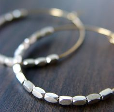 Silver Nugget Hoops Earrings 14k Gold Filled by friedasophie, $35.00