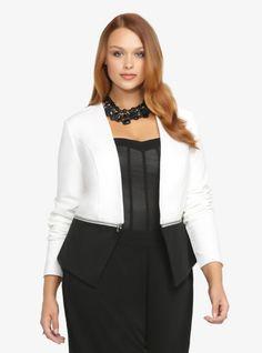 Black + white zippered blazer | Torrid