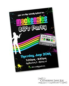 80's party custom printable invitation  by serendipity soiree - Catherine Jane Joy dance party neon green