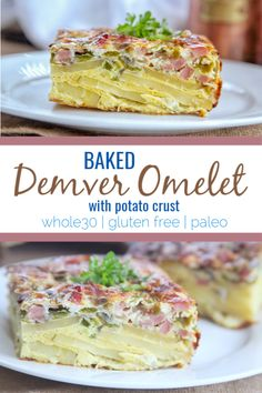 baked Denver omelet contains all the classic Denver omelet ingredients like bell pepper, onion and ham. It's oven baked with a golden potato crust on the bottom for a healthy meal for any time. Easy Whole 30 Recipes, Gluten Free Recipes For Breakfast, Gluten Free Breakfasts, Brunch Recipes, Paleo Recipes, Gourmet Recipes, Real Food Recipes, Paleo Meals, Egg Recipes