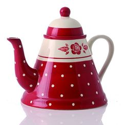 Gabriella Miller Red/Cream Carmina Rose Teapot