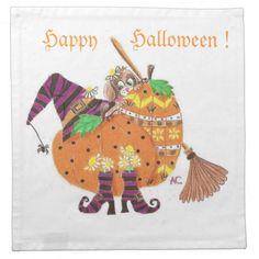 Halloween design white cocktail napkins
