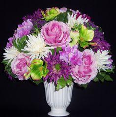 Silk Flower Arrangement, Pink Cabbage Roses, White Vase, Spring Floral Arrangement, Silk Floral Arrangement, Artificial Flower Arrangement via Etsy