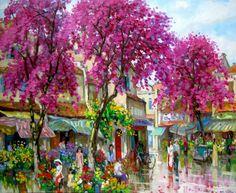 Flower market in Spring   Buy Paintings from Vietnamese Artists Online or our gallery in Vietnam