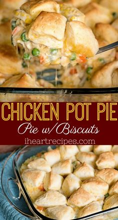 Easy chicken pot pie made with biscuits instead of a traditional crust. This budget meal is definitely a family favorite! I just love a good old fashioned chicken pot pie, especially during the colder Homemade Chicken Pot Pie, Homemade Biscuits, Chicken Pot Pie Recipe With Biscuits, Biscuit Pot Pie, Baked Chicken Recipes, Recipe Chicken, Easy Chicken Meals, Chicken Pot Pie Casserole, Chicken Salad