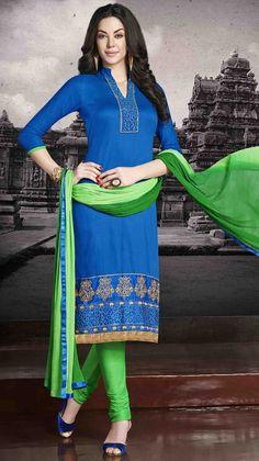 USD 26.00 Blue Cotton Churidar Suit 48437