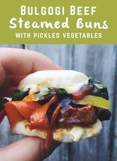 Bulgogi Beef Steamed Buns (bao) with pickled vegetables