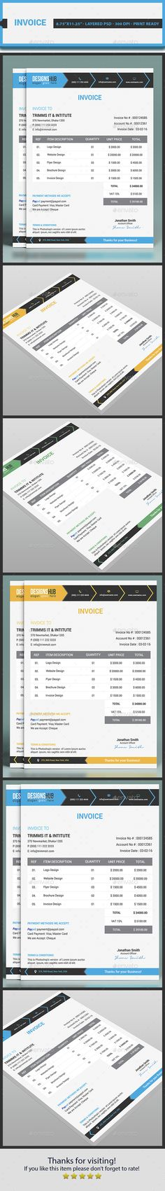 Invoice Template by geckooteams Features 4 color variation - invoice print