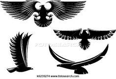 Clipart - héraldique, aigle, symboles, et, tatouage k6239274 - Recherchez des Clip Arts, des Illustrations, des Dessins et des Images Vectorisées au Format EPS - k6239274.eps