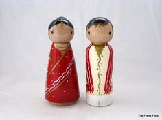 Personalized Peg Doll Cake Topper for your Traditional Ethnic Wedding