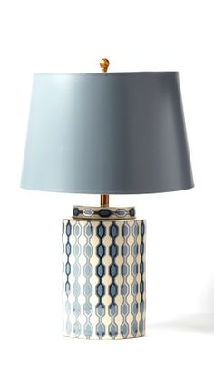 Kelly Hoppen Porcelain Lamp * Grey & Pearl
