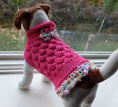 Dog Sweater Hand Knit Very Girlie Small 11 inches long by jenya2, $25.99