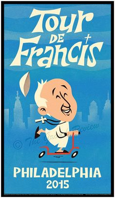 Charming poster in mid-century style for Pope Francis US visit...