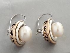 Sterling Silver Earrings, Silver Earrings, Rose Silver Earrings, Pearl Earrings by Rosestyle on Etsy