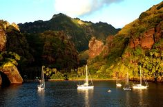 A gorgeous sunset over the Bay of Virgins - Nuku Hiva. Credits: Isabelle Ozan