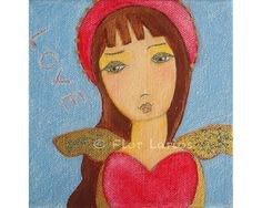 Valentine Angel Print from  Painting by FLOR LARIOS  by FlorLarios, $15.00