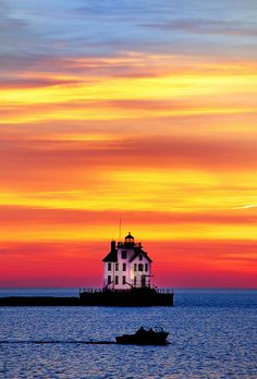 Lorain Lighthouse, Post Sunset, Ohio. Colorful Sky over Lake Erie and the Lorain Lighthouse after sunset.