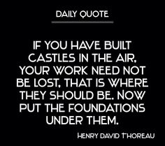 Build your foundations.