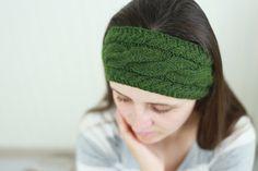 Knit headband Knit braid Sister Teen ear warmer braid Green Dark Christmas gift Winter accessories Ear warmer headwrap Women head band