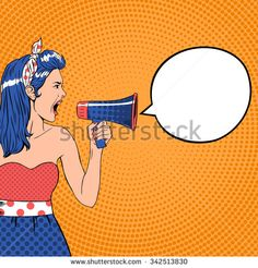 Pop art girl with megaphone and speech bubble. Loud and communication, announce shouting, retro announcement speaker, message voice, vector ilustration - stock vector