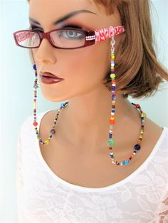 Colorful Eyeglass Chain and Necklace by RalstonOriginals on Etsy Pink Eyeglasses, Eyeglass Holder, Sunglass Frames, Blue Beads, Metal Beads, Sunglasses Women, Fashion Accessories, Handmade Jewelry, Beaded Necklace