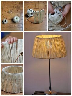 ▷ 1001 + Ideas and instructions on how to make lamps yourself- ▷ 1001 + Ideen und Anleitungen, wie Sie Lampen selber machen lamp self build material, floor lamp with lampshade of linen cord, diy project - Diy Home Crafts, Diy Home Decor, Room Decor, Rustic Lamp Shades, Diy Pendant Light, Make A Lamp, Diy Casa, Handmade Lamps, Ideias Diy