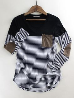 Striped Suede Pocket Top. Striped casual top. Faux suede pocket. Comfy style. Casual style. Spring outfit inspo at therollinj.com