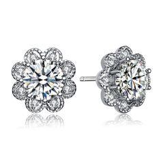 Sterling Silver Round Cubic Zirconia Flower Stud Earrings  | eBay