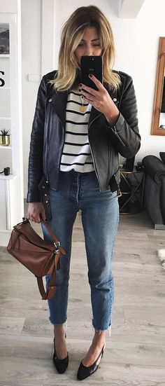 casual outfit inspiration / black leather jacket   bag   jeans   heels   stripped top