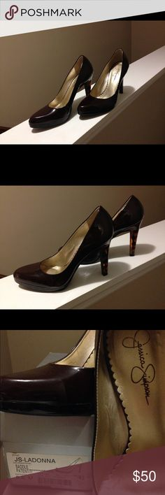 Jessica Simpson pumps Brown patent leather pumps worn one time Jessica Simpson Shoes Heels