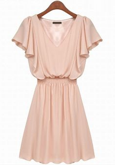 Pink Plain Falbala Chiffon Mini Dress | CiChic