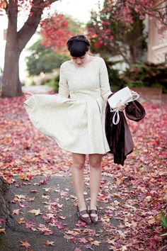 Cream paisley frock with long sleeves...perfect for autumn.